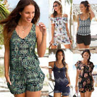 Women Sleeveless Mini Playsuit Summer Shorts Jumpsuit Romper Beach Pants Holiday