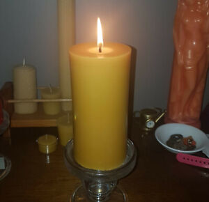 2 Aussie Made, Extra LARGE 100% Beeswax, Pilar Candle minimum TOTAL 160 hr burn
