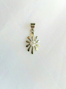 Sterling silver clear cubic zirconia flower pendant