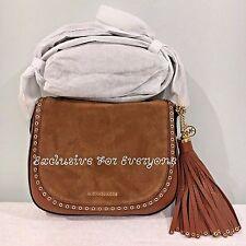 NWT Michael Kors Brooklyn Luggage Medium Saddle Bag Leather Crossbody $348