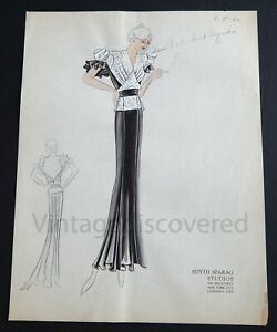 1930's Vintage Fashion Design Original Art Color Drawing #1 Edyth Sparag Studios