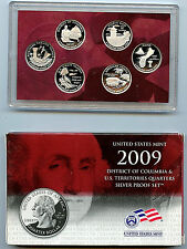 2009 S State US Territory Silver Quarter OGP & COA BU Proof 6 Coin US Mint Set