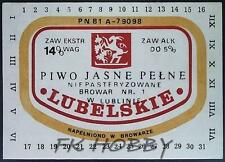 Poland Brewery Lublin Lubelskie Beer Label Bieretikett Etiqueta Cerveza lu37.1