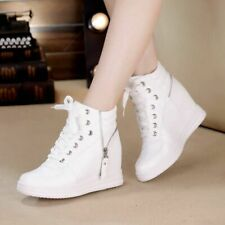 Chic Womens High Top Trainers Boots Zip Lace Up Hidden Wedge Heel Sneakers Shoes