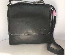 SUE HOUSTON Black Pebble Leather Crossbody Purse with White Stitching Orig $295