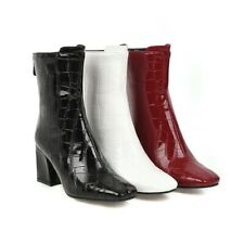 Ladies Patent Leather Ankle Boots Fashion Square Toe Block Heel Women Shoe Party