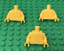 Lego X3 Plain Yellow Mini Figures Torso / New Body Parts Lot