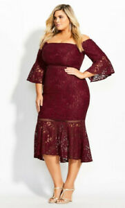 City Chic Wine Red Fox Lace Bell Sleeve Cold Shoulder Wiggle Dress Plus Size S