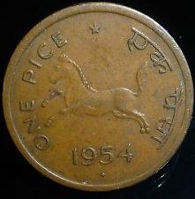 1 Pice India 1954, Bronze Weight 2.95 g Diameter 21 mm