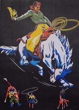 Original Vintage Rodeo Poster of Cowboy on Bucking Bronco