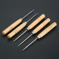 5Pc Wood Handle Tailor Scratch and Punch Awl Pinpoint Hole Punching Clicker Tool