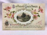Vintage Embossed Floral Theme Birthday Greetings Postcard 1911 John Winsch