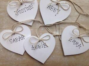 Personalised Wooden Heart Storage Jar Linen Basket Labels Or Gift Tag Handmade