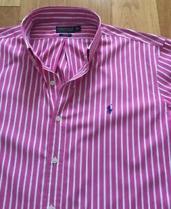 XXL size Ralph Lauren polo golf men's long sleeve pink like&white stripe shirt