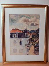 Tableau peinture peintre orientaliste français Eugene Billaud toit région lyon
