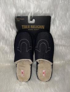 True Religion Fur Liner Slip On Slippers Black Denim Men's Sz LG(11-12) New