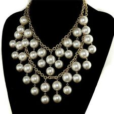 Double Layer Collare Simulated Pearl Necklace Design Gold Beads Choker Statement