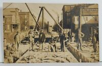 Rppc Occupational Road Construction Crew c1910 Equipment Real Photo Postcard P6