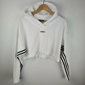 Adidas Vintage 90s Y2K Hooded Oversized Cropped Ribbed Sweater Top Size 10