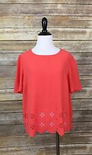 Cato Pink Salmon Coral Scalloped Cut Out Hem Dressy Shirt Blouse Top Large L