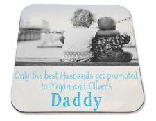 Personalised Printed Coaster husbands promoted to daddy Christmas photo gift