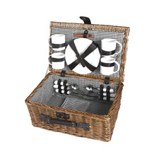 Picnic Basket Set 4 Person Willow Baskets Deluxe Outdoor Travel Camping Travel