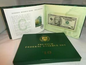 1999 Set of 12 $10 Premium Federal Reserve Banknotes w/ Matching Numbers & COA