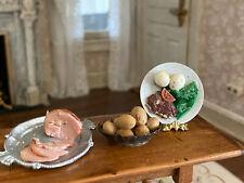 Vintage Miniature Dollhouse 1:12 Artisan Sculpted Ham, Potatoes, Plate of Food