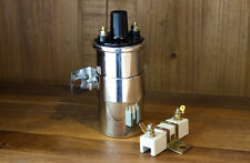 12V Ignition Coil Universal Chrome w/ External 1.6 Ohm Resistor & Bracket