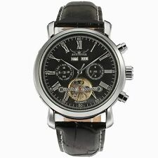 Jaragar Auto Mechanical Watch for Men Skeleton Dial Leather Strap Auto calender