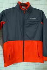 Youth M 10 12 Columbia Long Sleeved Full Front Zipper Jacket Gray Orange Fleece