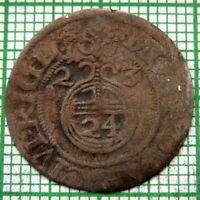 SWEDISH LIVONIA RIGA Gustav II Adolf 1623 3 POLKER - 1-1/2 GROSCH - 1/24 THALER
