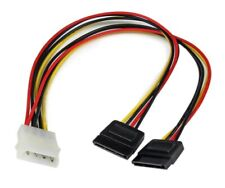 12in LP4 to 2x SATA Power Y Cable Adapter - Molex to to Dual SATA Power Adapter