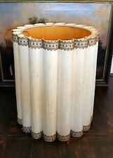 Large Vintage Mid Century Fabric Barrel Drum Lamp Shade Rolled Pleat