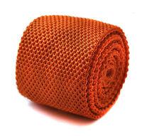 Frederick Thomas Knitted Silk Mens Tie - Burnt Orange - Skinny Pointed End