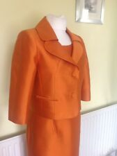 BEAUTIFUL ORANGE WOOL/SILK DRESS SUIT FROM HOBBS UK12 RRP £400.00