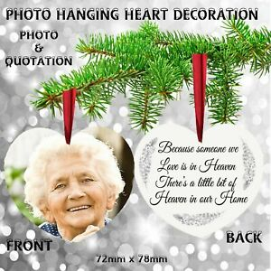 Personalised PHOTO Remembrance Christmas Tree Decoration Mum Dad Nanny Grandad