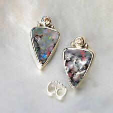 Boulder Opal Ohrring, 925er Silber, Edelstein Ohrring (876), mit Brillant
