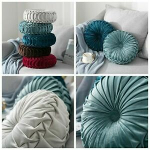 NEW Round Plush Pleated Round Floor Cushion Pillow Cover Throw Home Sofa Decor