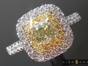 0.52ct Greenish Yellow SI2 Cushion Cut Diamond R9171 Diamonds by Lauren