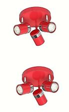 2 of Gloss RED 3 Way Round Ceiling Spotlights Modern