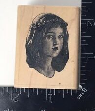 THE MAIDEN ORNAMENTUM Uptown Design Rubber Stamp Young Woman Face Unique #732
