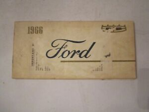 1966 FORD CAR OWNER'S MANUAL GUIDE - BOX A