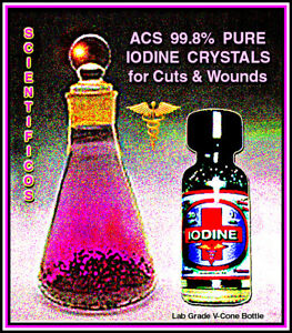 IODINE CRYSTALS Element 60gm / 2 oz. Disinfecting Cuts & Wound Care & First Aid