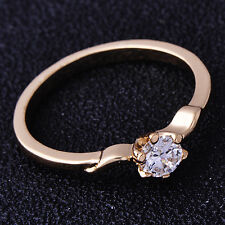 Dainty Womens Ring 5-Fingers Pattern Clear CZ Yellow Gold Filled Size 7#A6237