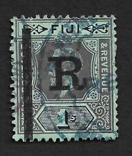 Fiji REVENUE KGV 1914 1sh Die 1 green back wmk. Crown/CA overprinted R #27