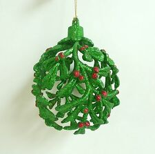 Christmas Ornament Pier 1 Green Red Glittery Holly Ball Holiday Tree Decor