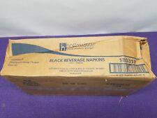 Beverage Napkins, 2-Ply, 9 1/2 x 9 1/2, Black, 1000/Carton - HFM 180313