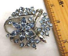 Flower Blue bagettes Vintage Brooch Blue