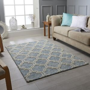 Medina Blue Cream Trellis Pattern Wool Rug in various sizes and runner